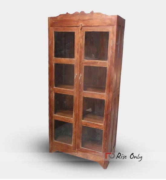 Antique Teak Wood 4 Shelf Bookcase Glass Door Bookcase Bookcases