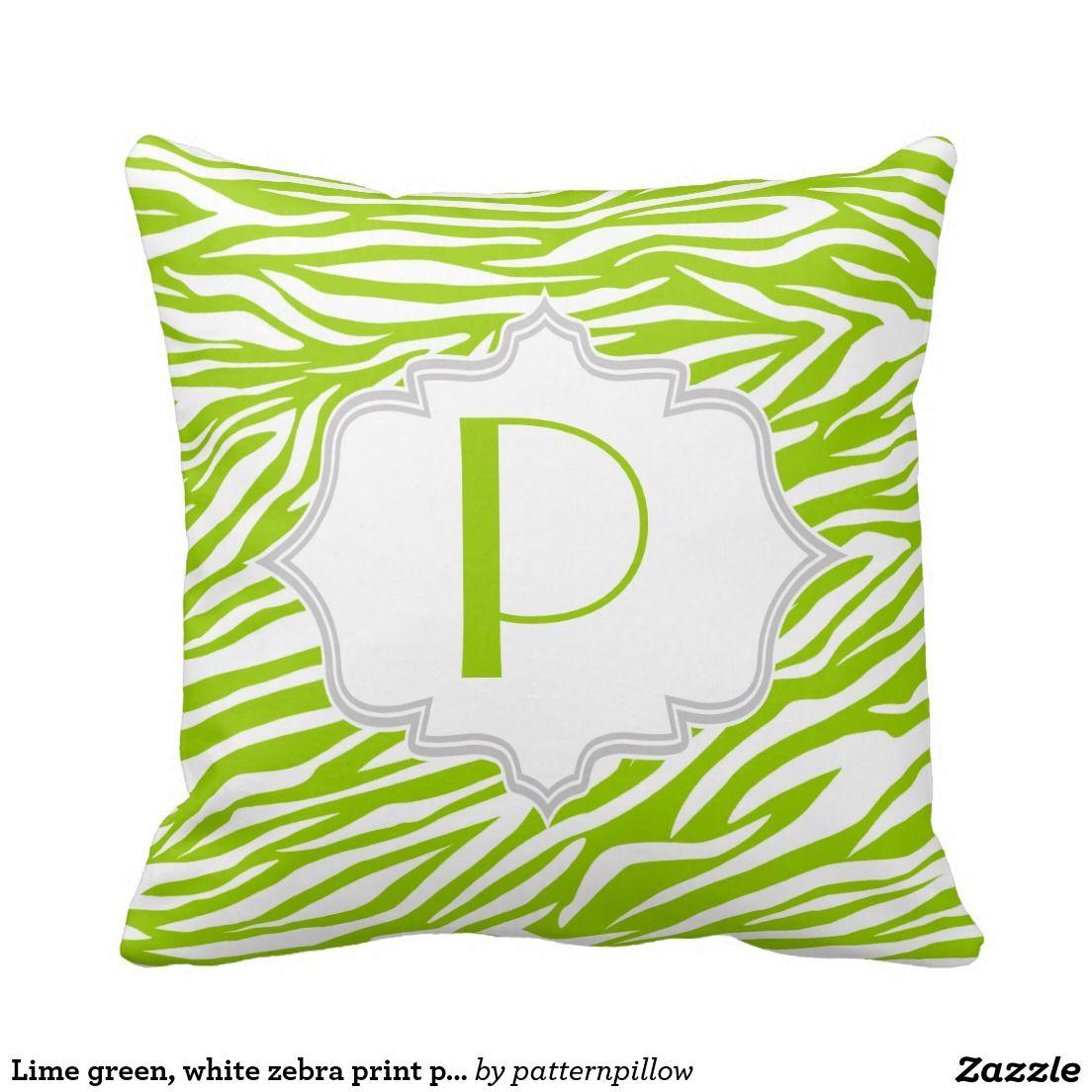 Lime green, white zebra print pattern custom throw pillow