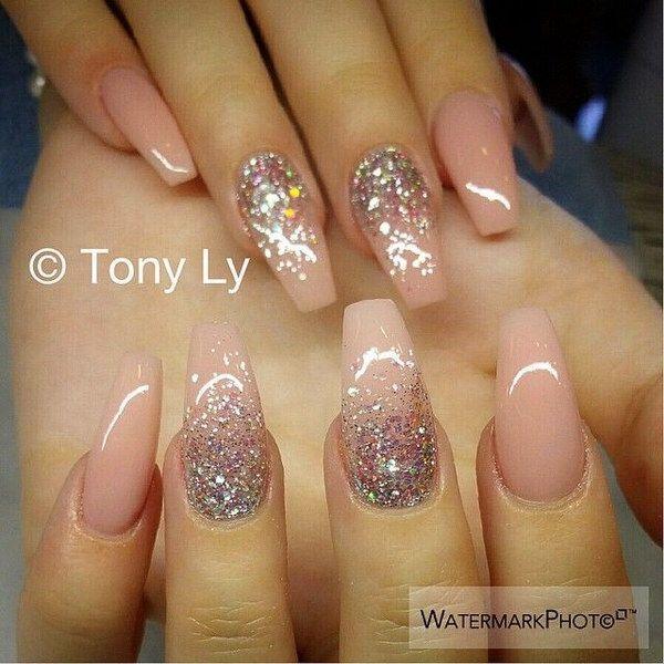 Baby Pink & Glitter Wedding Nail Design.