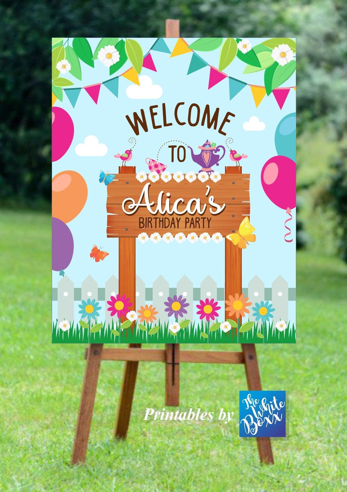 Garden Tea Party Welcome Board Garden Tea Party Welcome Sign Etsy Tea Party Garden Garden Party Birthday Birthday Party Printables