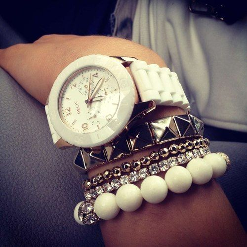 multiple bracelets and a watch..cute combination