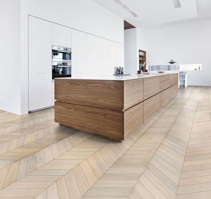 33 Modern Style Cozy Wooden Kitchen Design Ideas: Kährs White. Patterned, Engineered Hardwood Flooring
