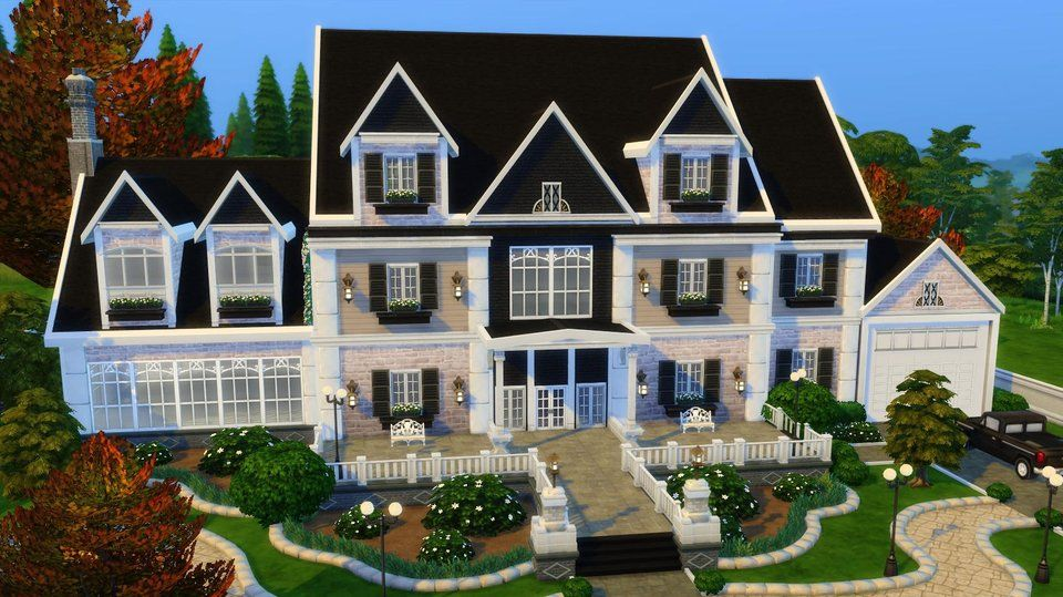 A Colonial Mansion I Built In Windenburg Thesims Sims House Design Sims House Sims Building