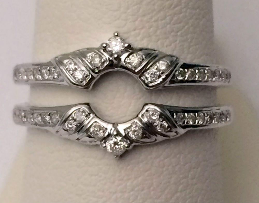Solitaire Enhancer Round Diamonds Ring Guard Wrap 14k White Gold Wedding Vintage #WithDiamonds