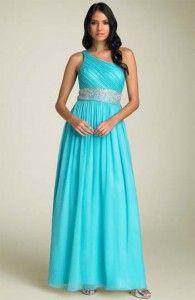 Vestidos de noche para gorditas azul turquesa