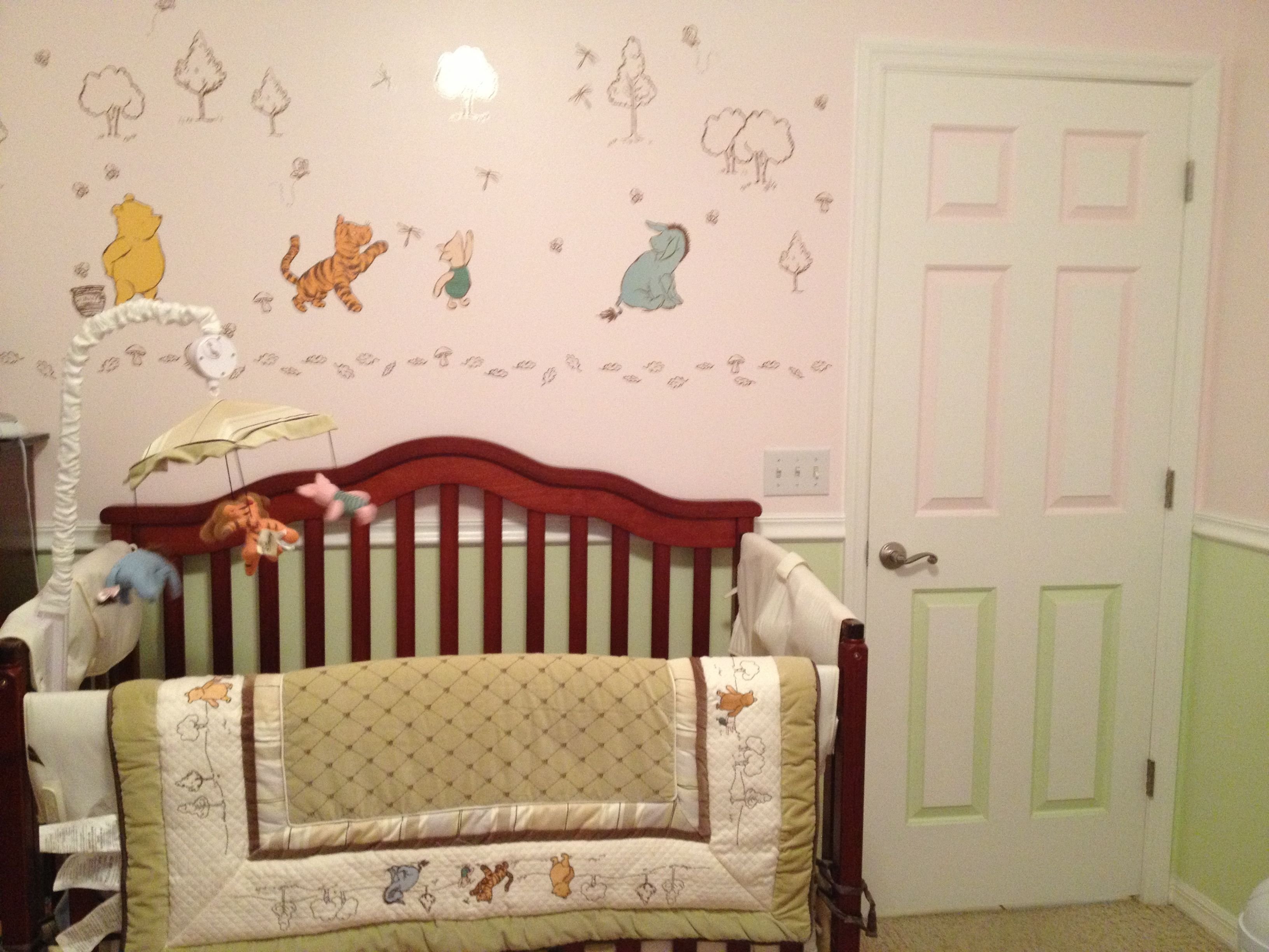 Winnie the pooh toddler bedding - Classic Winnie The Pooh Nursery Set Neutral Made For Girl With Pink And Green Wall