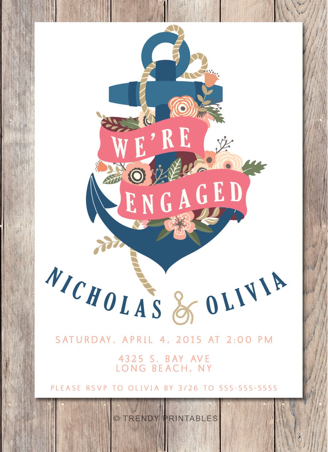 Engagement Party Invitation Were Engaged Nautical Engagement – Engagement Party Invitations Etsy