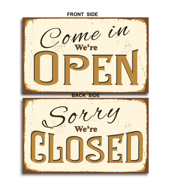 open closed signs open