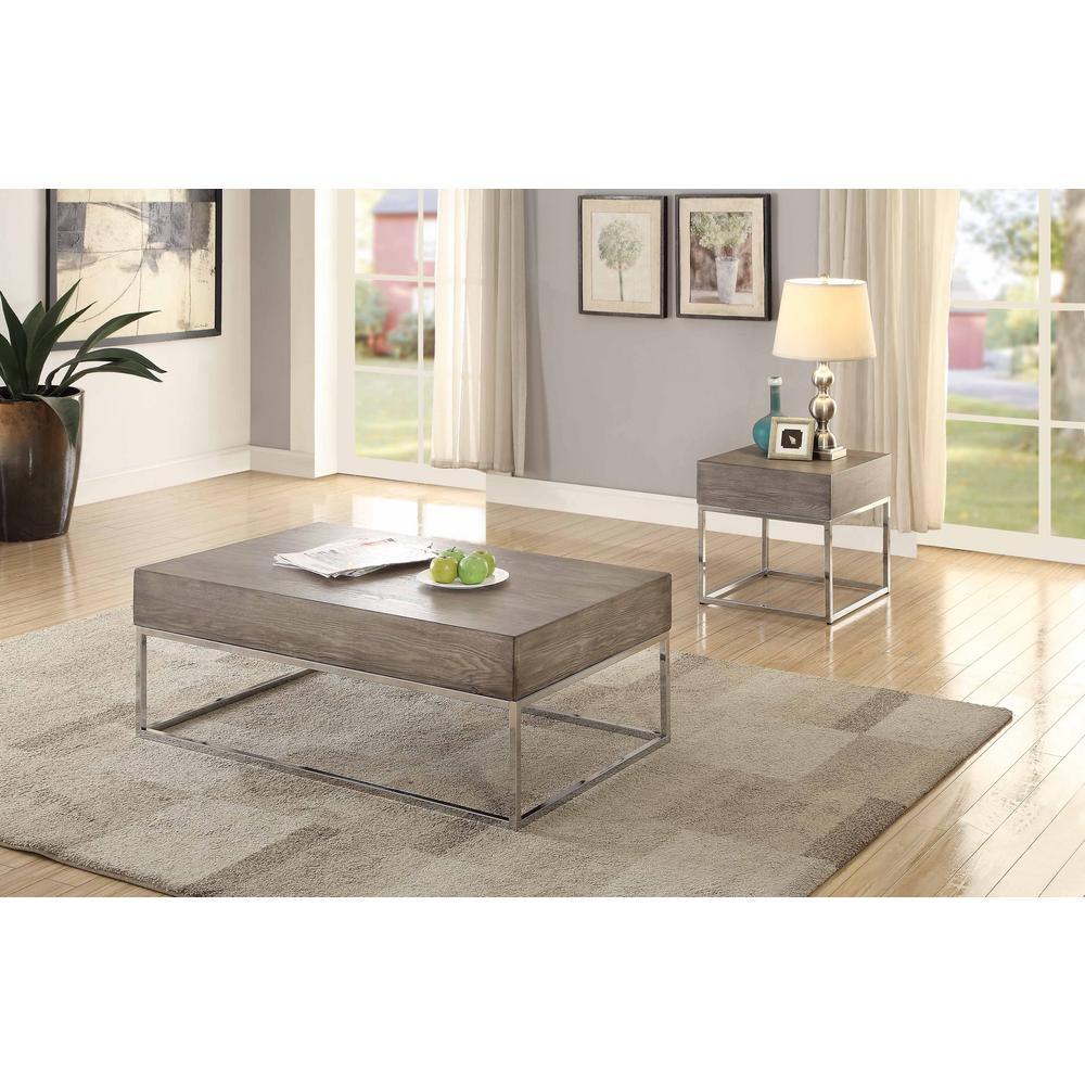 Venetian Worldwide Cecil Ii Chrome And Gray Oak End Table Va 84582 Coffee Table Coffee Table Grey Rectangular Coffee Table