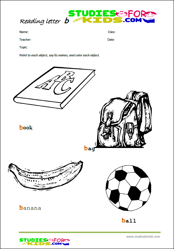 the letter b reading worksheets for kids, free printable PDF | ngole ...