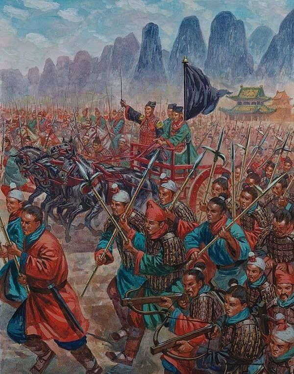 The army of the Qin state under the command of Qin Shi Huang, advances into battle against the Chu in 223 BC. Artwork by Giuseppe Rava.