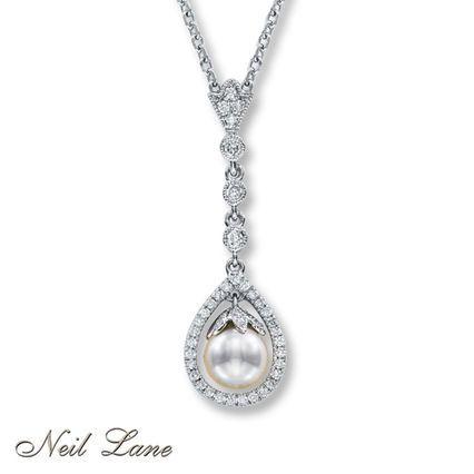 24d25c5df Neil Lane Designs Cultured Pearl Necklace Sterling Silver | Diamonds ...