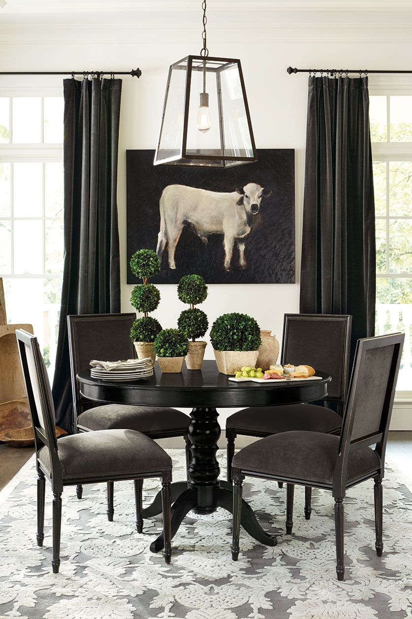 Heavy Curtains Like Velvet Require Sturdy Hanging Methods Like Hanging Pins Or Rod Pockets Dining Room Curtains Dining Table Black Dining Room