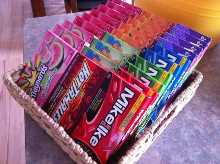 Candies displayed in basket for outdoor movie night
