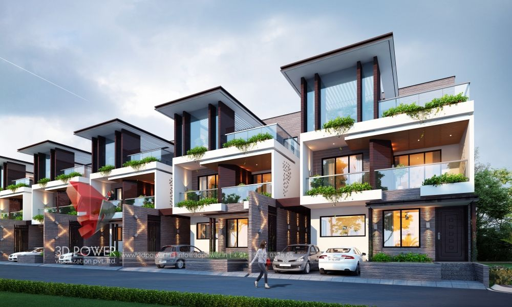 3d Rendering Of A Row House Row House Design Townhouse Exterior Condominium Architecture