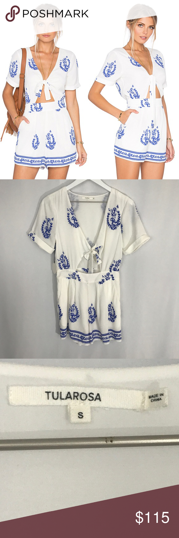 239ae8879851 NWT Tularosa X Revolve Rowley Romper Blue White Brand new with tags!! Color  Blue