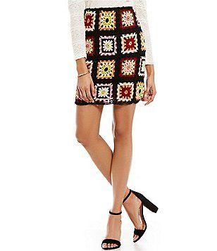 39c8d798985 Chelsea   Violet Crochet Panel Printed Skirt