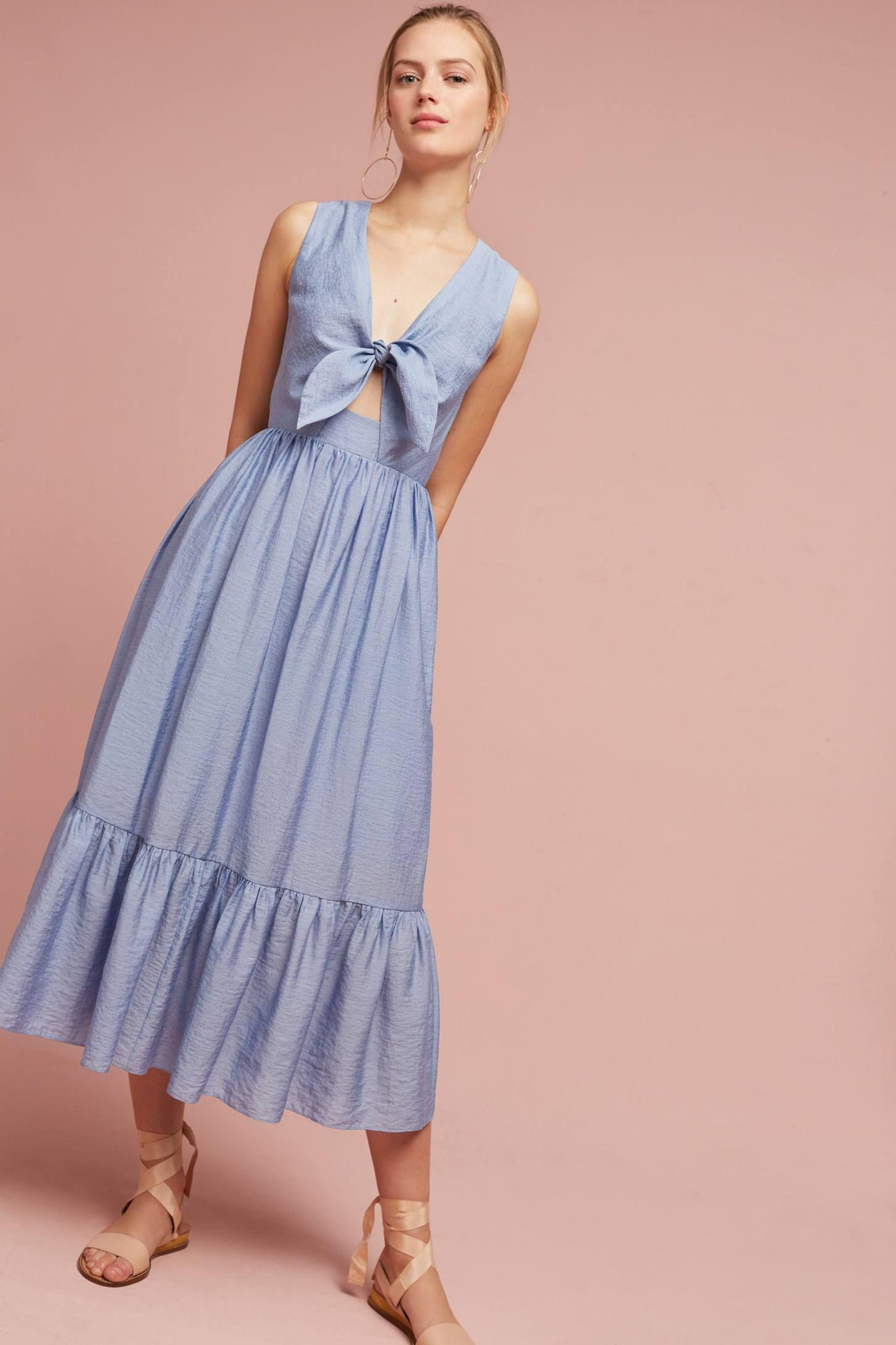 Kayla Tie-Front Midi Dress | Pinterest
