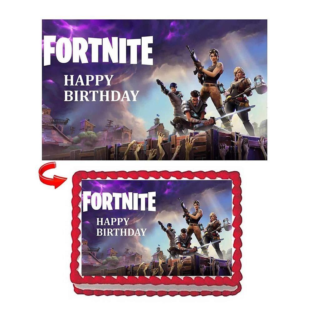 Georld Fortnite Battle Edible Image Cake Topper 1 4 Sheet Birthday
