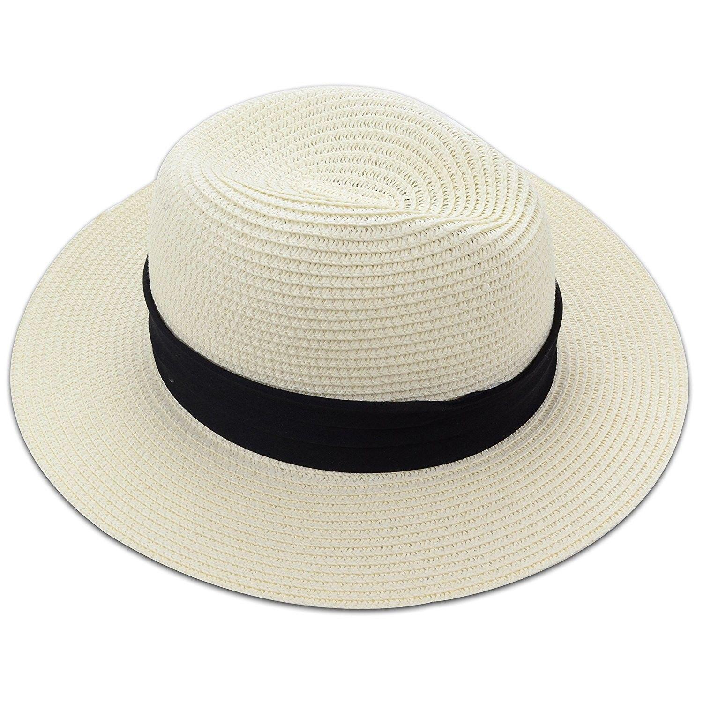 9089afeacde107 Medium Floppy Wide Brim Women's Summer Sun Beach Straw Hat with Black  Striped Band - Ivory - C4121VSHPVN - Hats & Caps, Women's Hats & Caps, ...