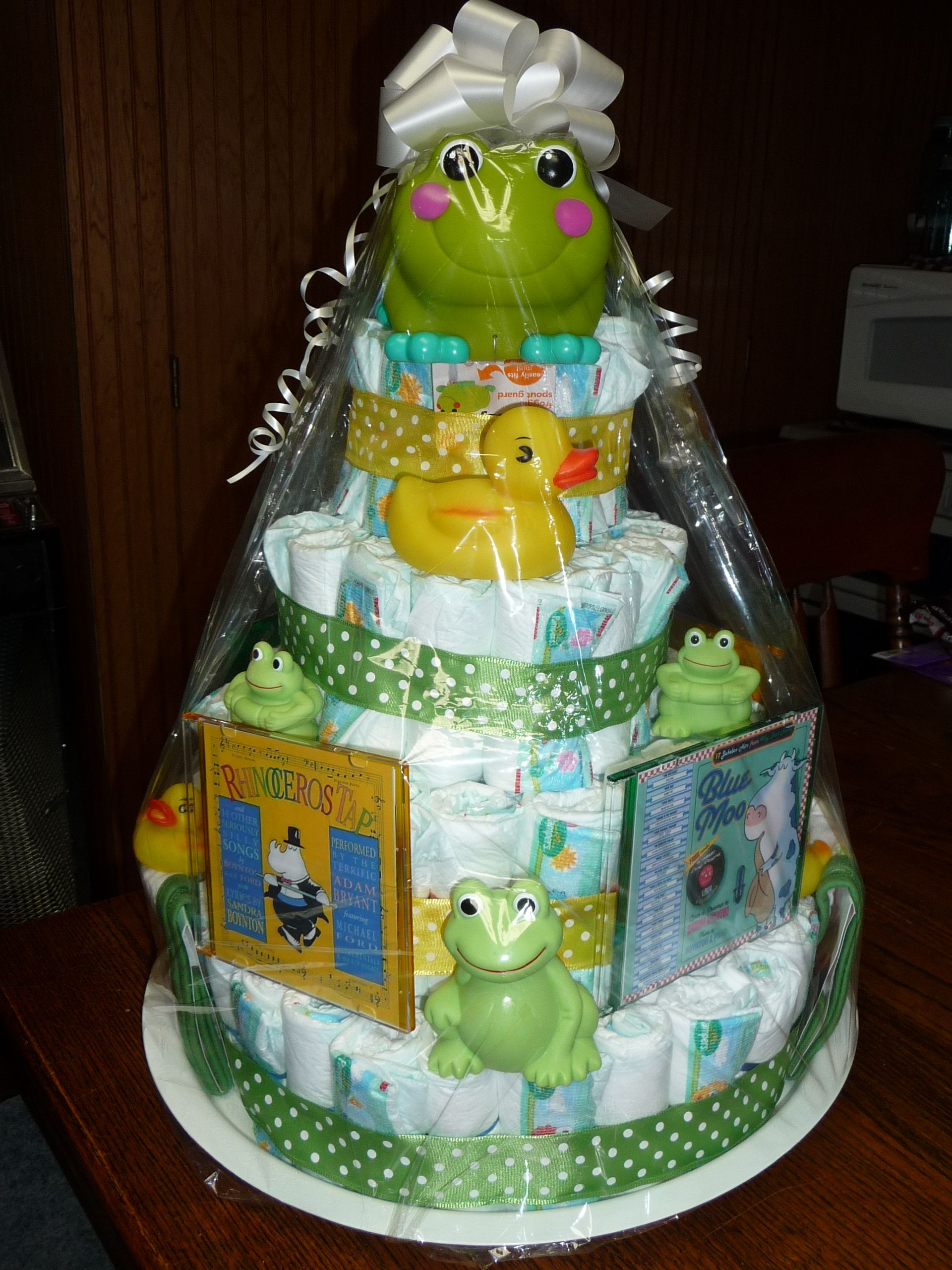 My Attempt At A Gender Neutral Diaper Cake As A Baby Shower Gift. Used A