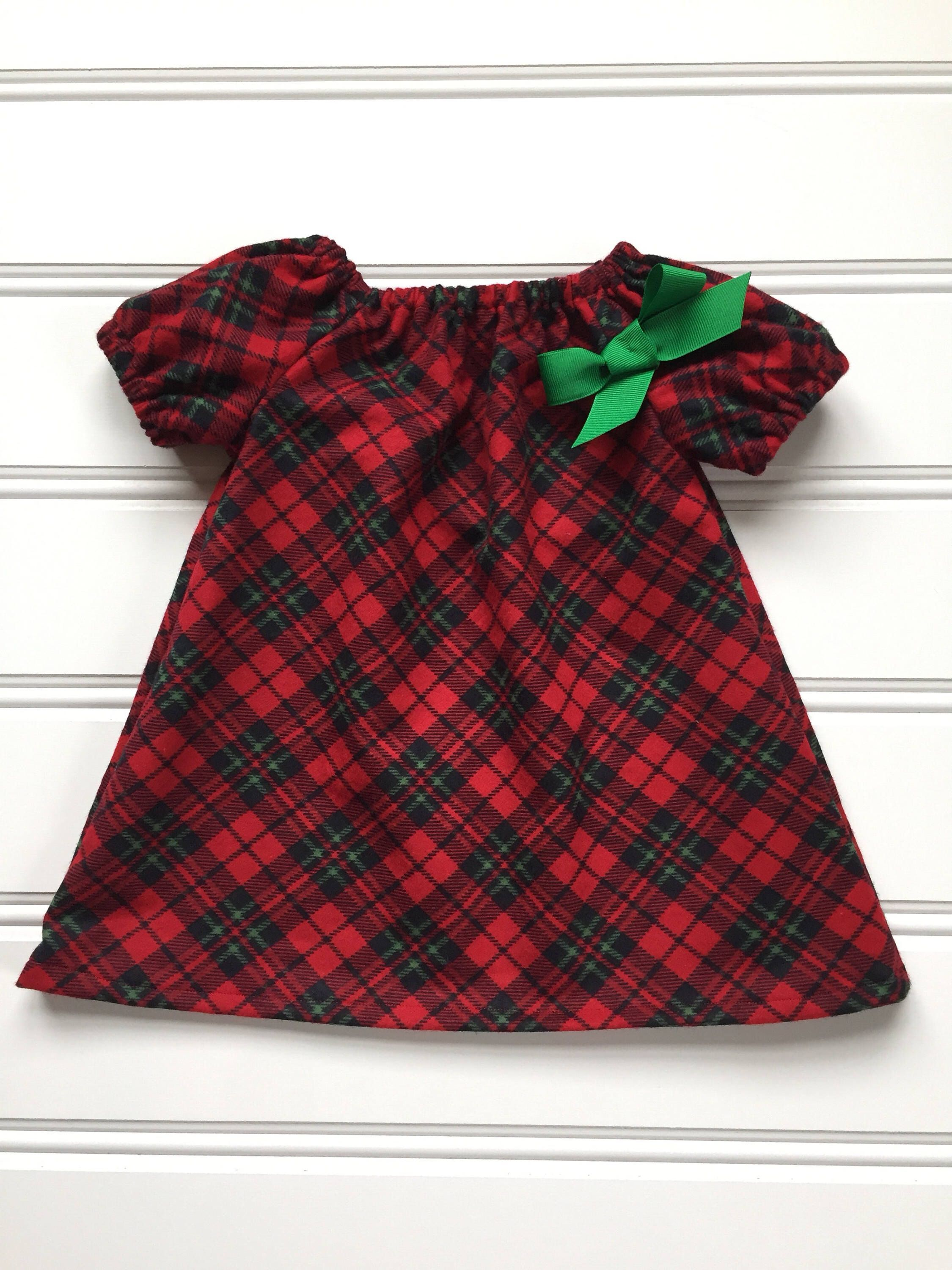 Plaid Christmas Dress for Girl Flannel Baby Christmas Dress Girl