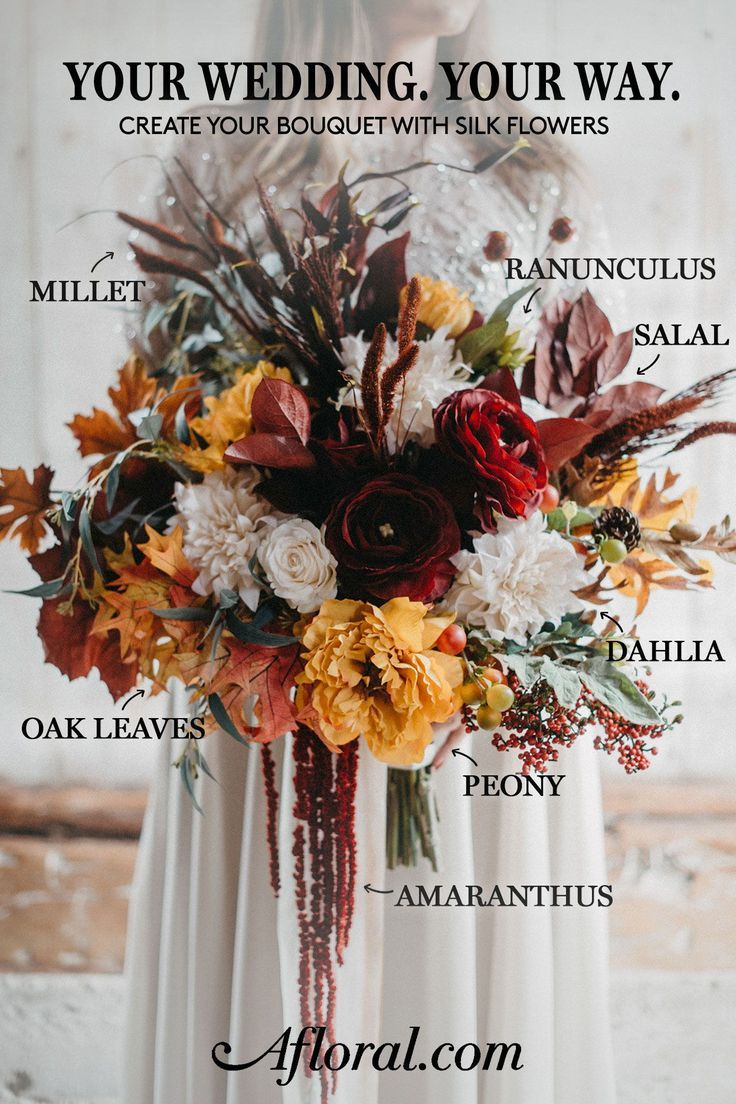 Get The Look: Wedding Bouquet Made with Silk Fall Flowers #silkbridalbouquet