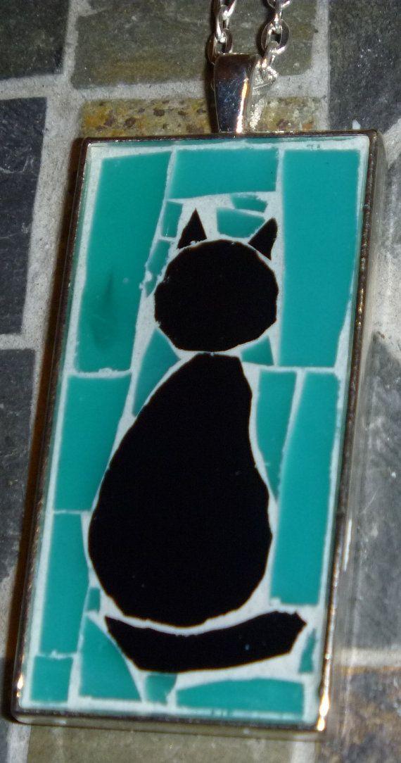 Black cat mosaic pendant with turquoise background on Etsy, $20.00