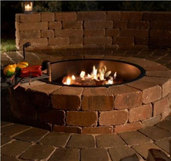 Necessories 48 In Grand Concrete Fire Pit In Bluestone With Cooking Grate 3500006 The Home Depot Fire Pit Backyard Fire Pit Kit Outdoor Fire
