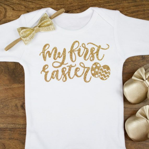 800fa810d6eb My First Easter Baby Onesie for Easter | Baby Girls Easter Onesie | Baby  Girl Easter Outfit Glitter Gold 1st Easter Outift