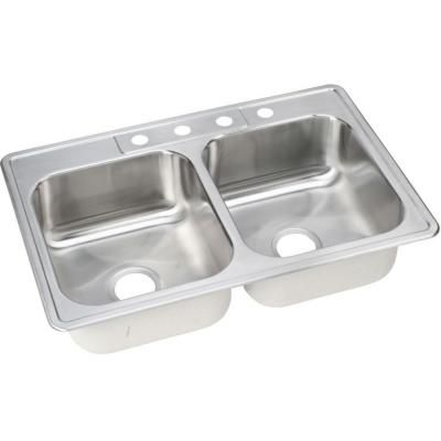 Elkay, Neptune Drop In Stainless Steel 33 In. Double Bowl Kitchen Sink, At  The Home Depot