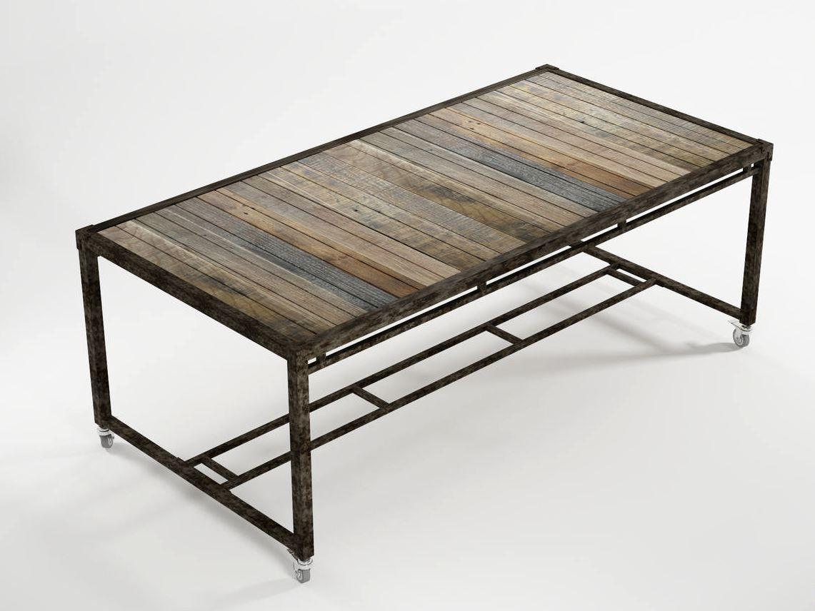 Tavolo lavoro ~ Ak by karpenter tavolo con ruote legno misto recuperato