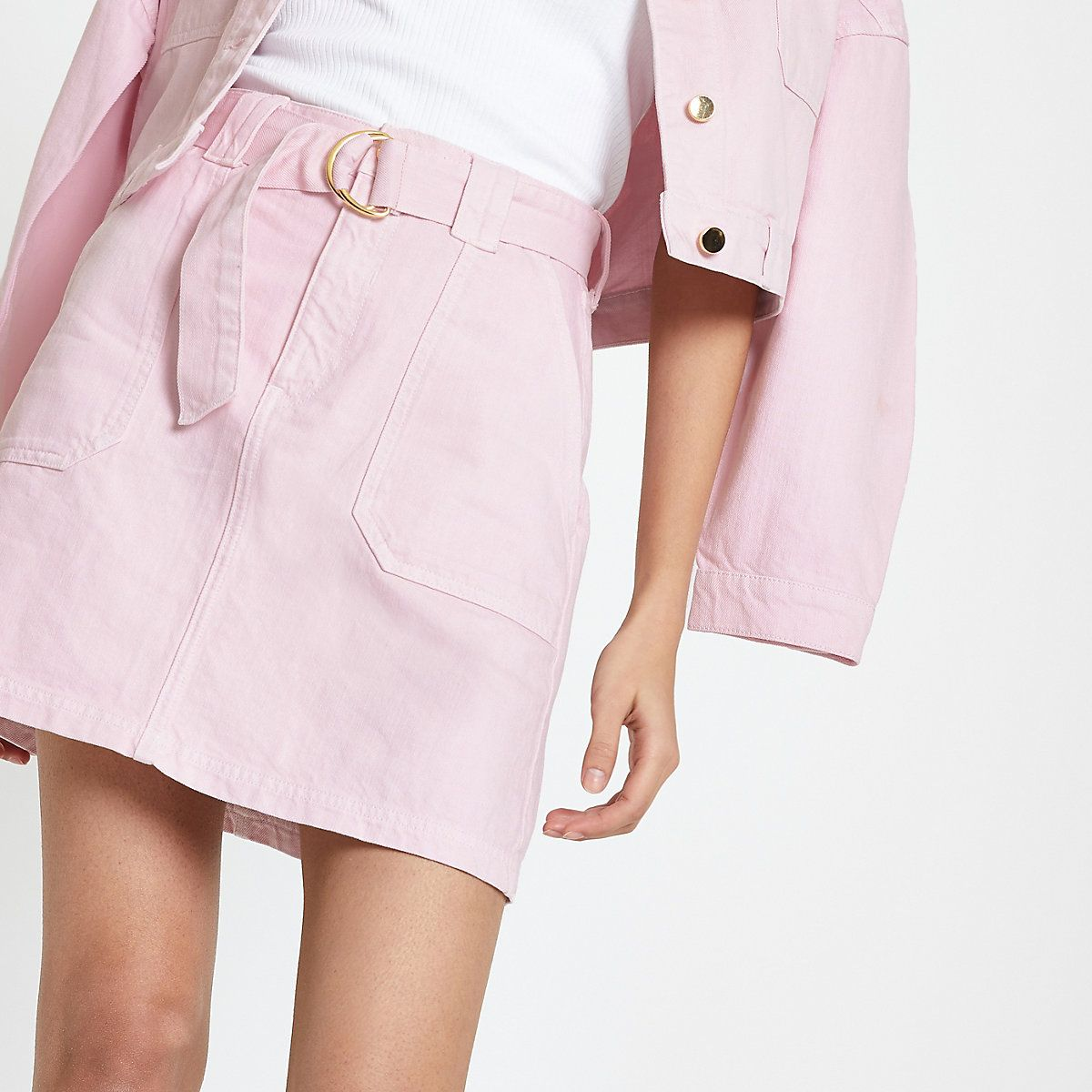 8616b55b87a6 Pink utility denim skirt - Mini Skirts - Skirts - women