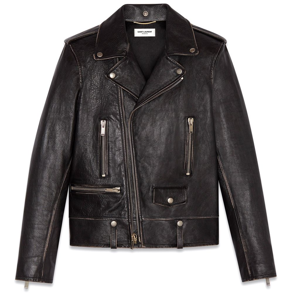 """Bird"" motorcycle jacket in vintage coarse grain leather"