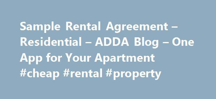 Sample Rental Agreement u2013 Residential u2013 ADDA Blog u2013 One App for - sample month to month lease agreement