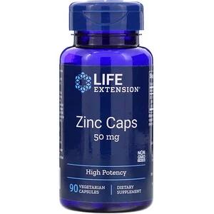 Life Extension Zinc Caps High Potency 50 Mg 90 Vegetarian Capsules Life Extension Healthy Hormones Immune Defense