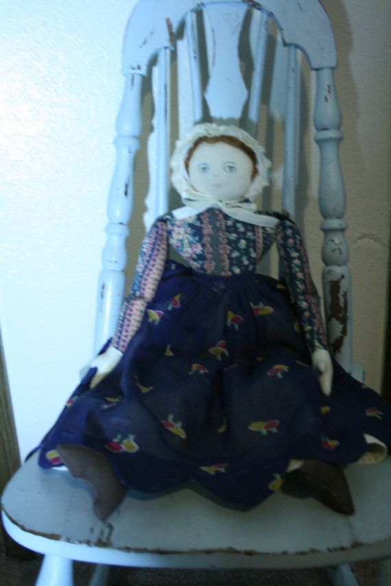 vintage handmade rustic cloth doll  large by LittleVixensVintage