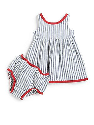 Ralph Lauren Infants Denim Striped Dress & Bloomers Set