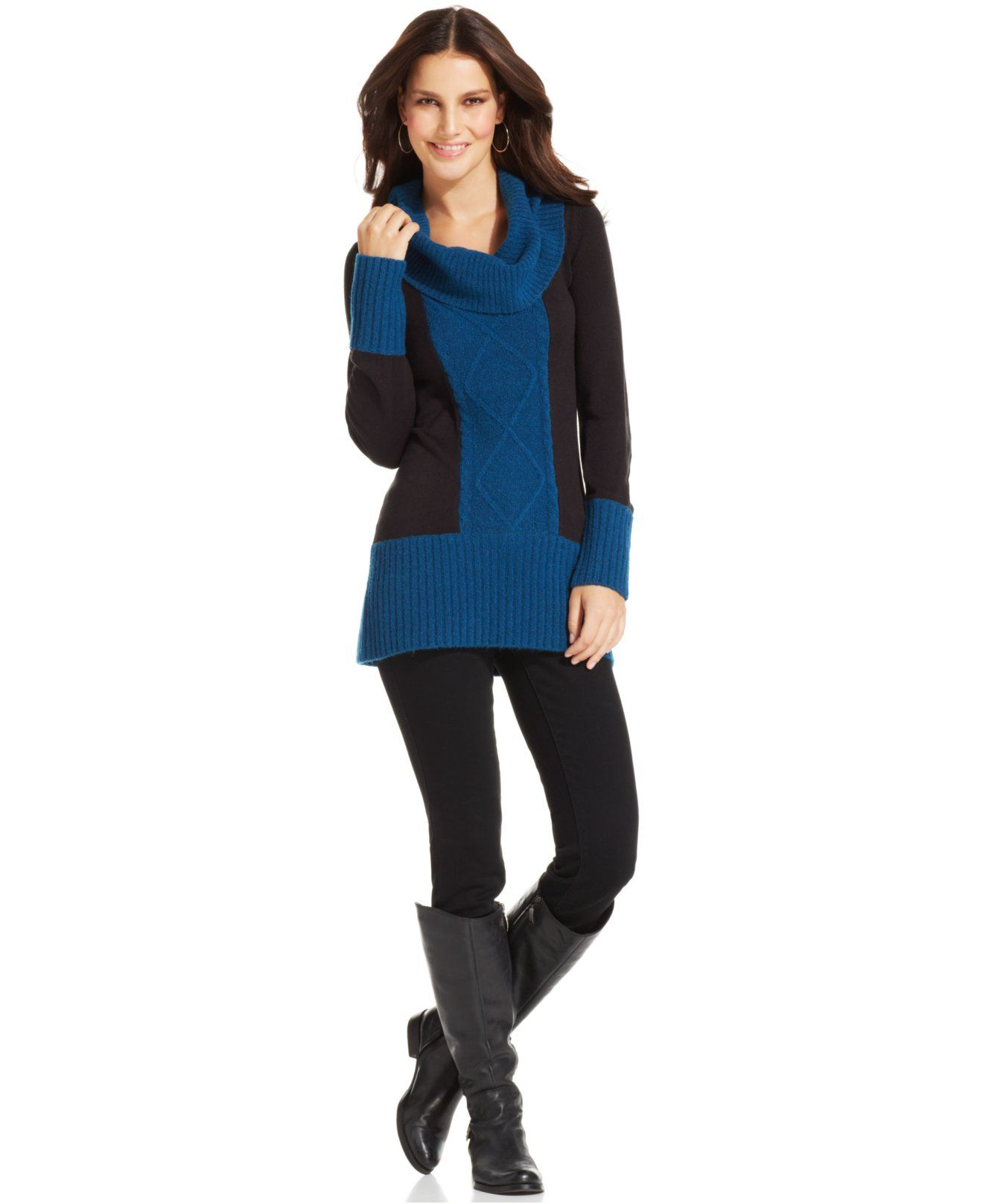 Style&co. Cowl-Neck Colorblock Sweater Tunic - Sweaters - Women ...
