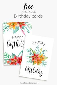 Printable Floral Birthday Cards Tags And Gift Box FREE Download