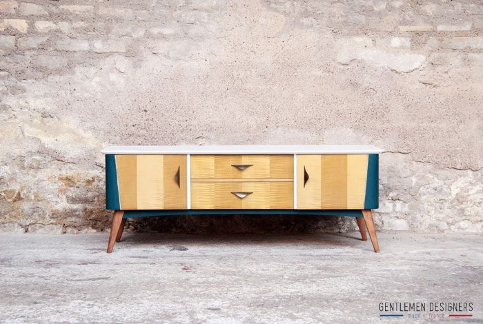 meuble tv vintage r nov bleu canard et blanc buffet enfilade. Black Bedroom Furniture Sets. Home Design Ideas