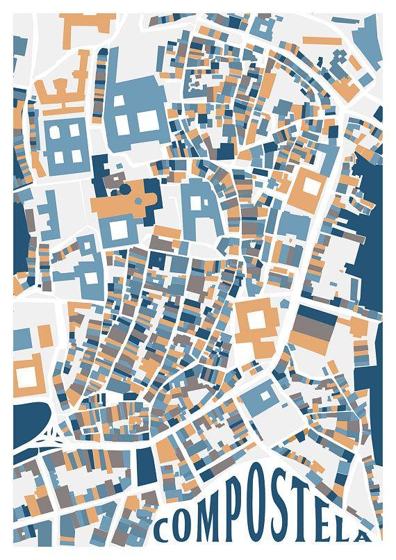 Callejero Mapa De Santiago De Compostela.Mapa Ilustrado Santiago De Compostela Mapas Ilustrados