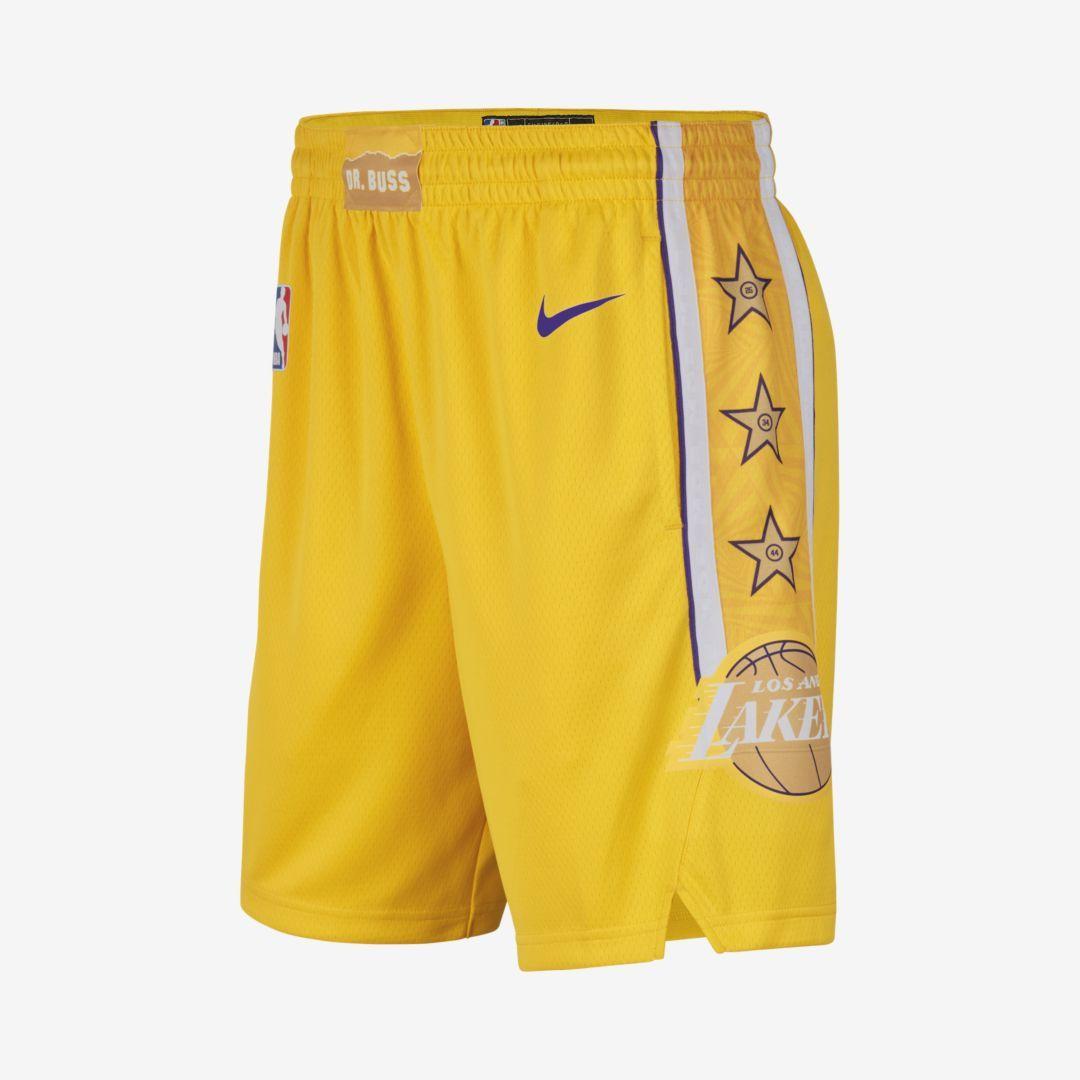 Lakers City Edition Nike Nba Swingman Shorts Amarillo Shorts Basketball Shorts Mens Gym Short