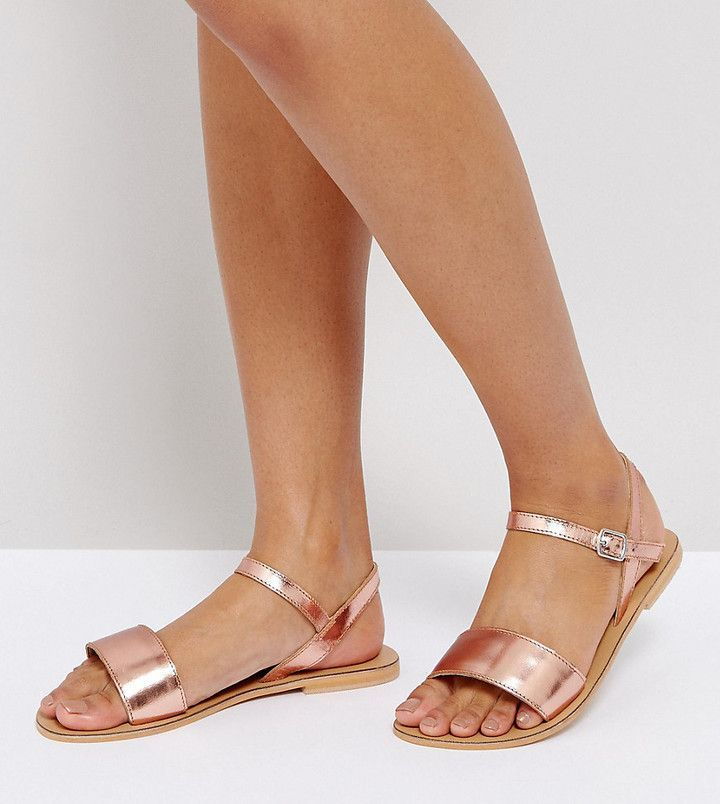 Sandals Sandals Fit Leather Flat FLIQUEY Sandals Asos and Leather Leather Wide qfWAnC