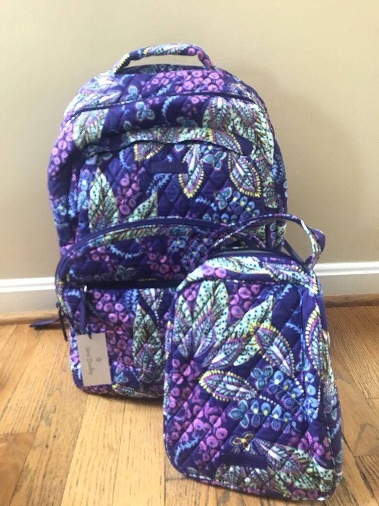 ab7da4025c5 VERA BRADLEY Essential Large Backpack Batik Leaves Lunch + Bunch School Bag  NWT