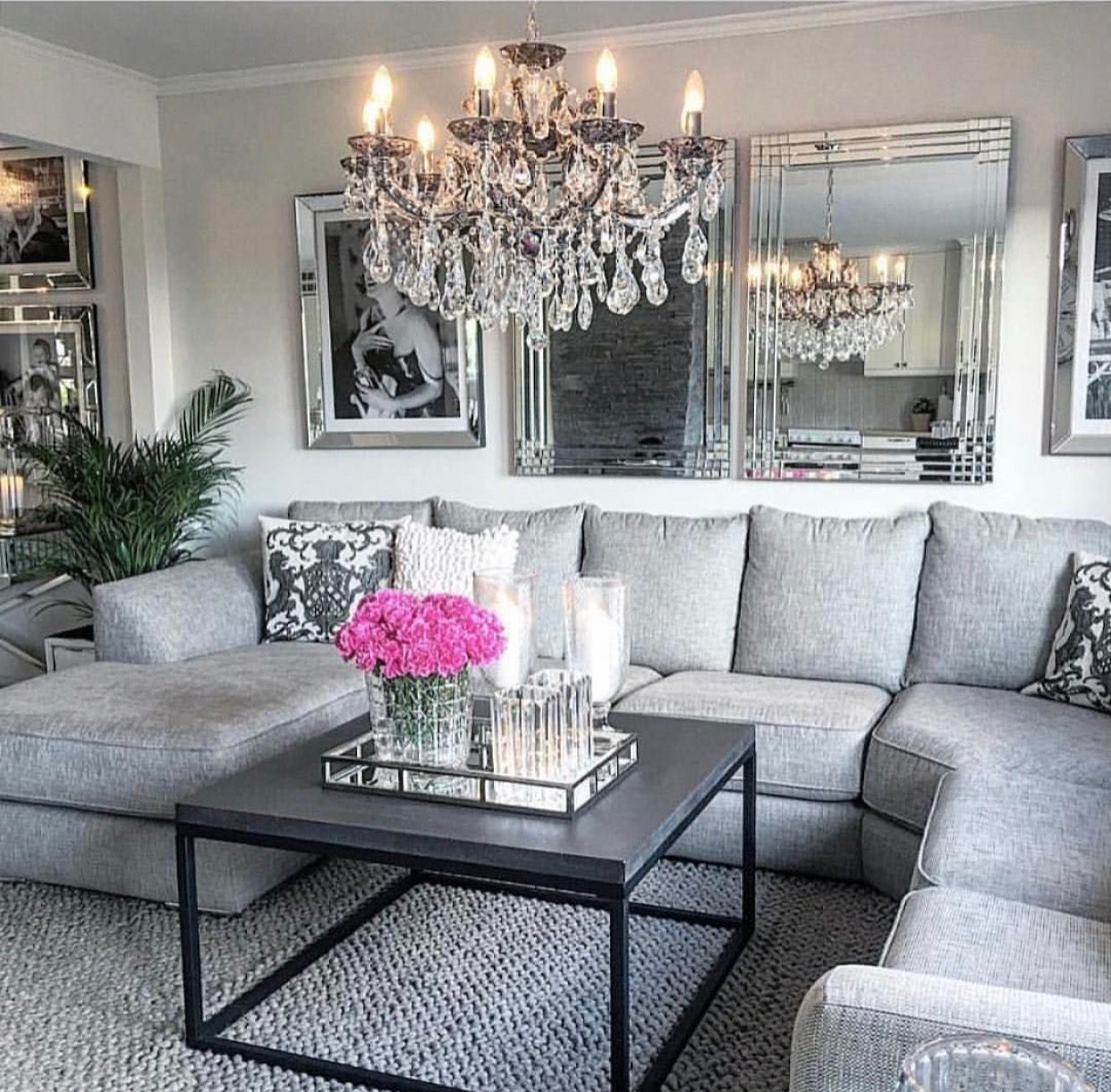 gorgeous glam grey living room home decorating glam living room diy living room decor. Black Bedroom Furniture Sets. Home Design Ideas