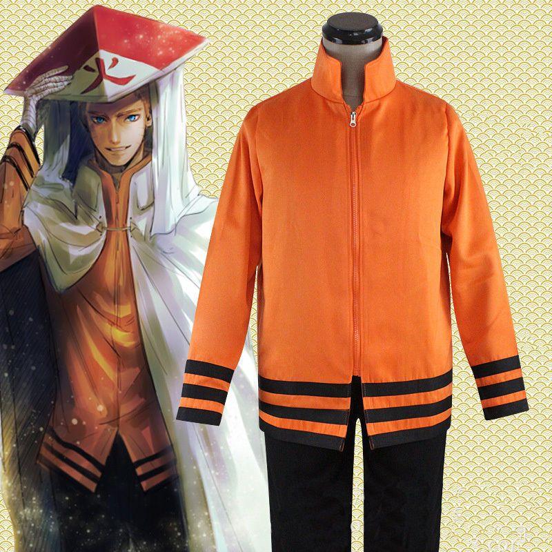 Anime Naruto Uzumaki  Coat jacket Pants Suit Cosplay Costumes Unisex Full Set