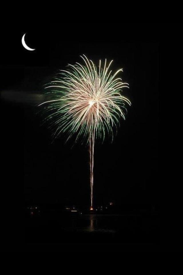 South Carolina (fireworks) under the moon.  Go to www.YourTravelVideos.com or just click on photo for home videos and much more on sites like this.