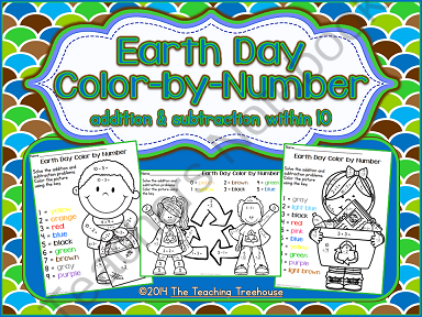 earth day color by number giveaway your students will love practicing addition and subtraction. Black Bedroom Furniture Sets. Home Design Ideas