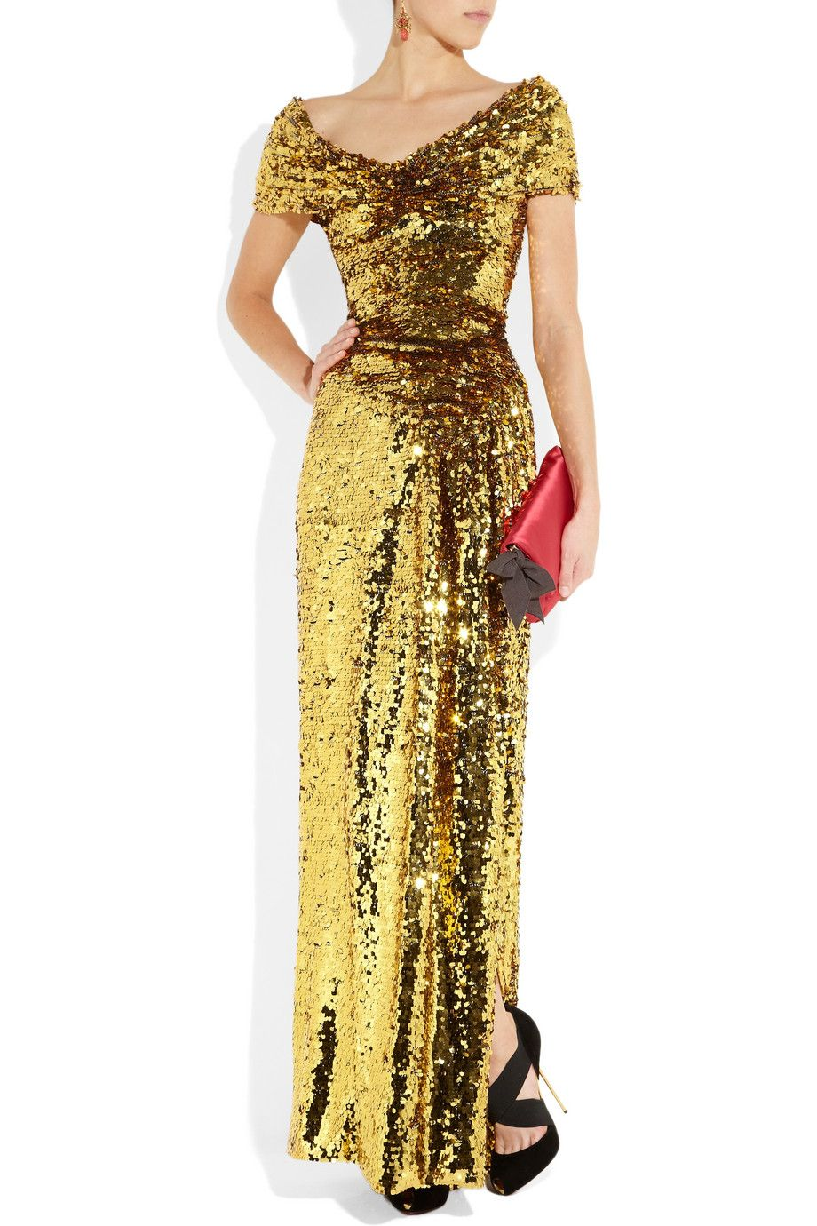 Vivienne westwood gold label long glazing metallic gold sequined